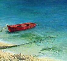 Fishing boat in island Corfu by kirilart