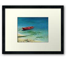 Fishing boat in island Corfu Framed Print