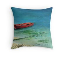 Fishing boat in island Corfu Throw Pillow