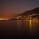 Lake Maggiore - Locarno at night by Christian Werthenbach