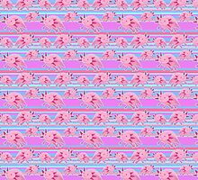 Pink Axolotl Striped Pattern by SaradaBoru