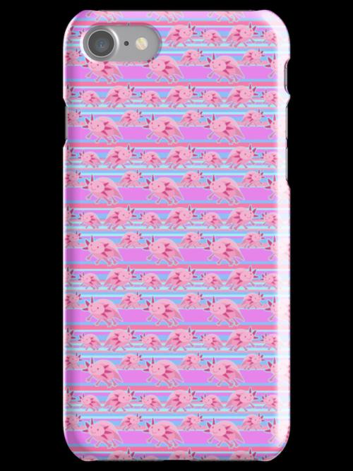 Pink Axolotl Striped Pattern by SaradaBoru