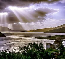 Sun Rays over Eilean Donan Castle by Chris Thaxter