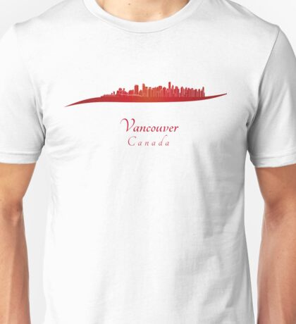 Vancouver skyline in red Unisex T-Shirt