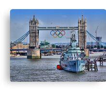 Olympic Rings  London 2012 - Tower Bridge Canvas Print