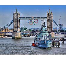 Olympic Rings  London 2012 - Tower Bridge Photographic Print
