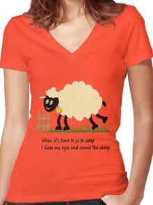Little Sheep Women's Fitted V-Neck T-Shirt