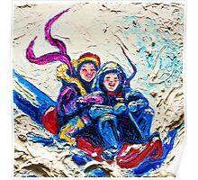 Children Sledding in the Snow Poster