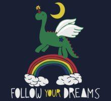 """""""Follow Your Dreams"""" Mystical Dinosaur One Piece - Long Sleeve"""