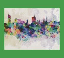 Vienna skyline in watercolor background One Piece - Short Sleeve