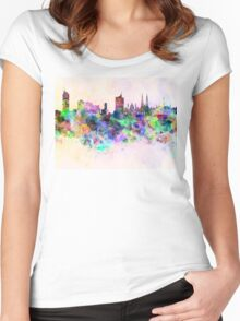Vienna skyline in watercolor background Women's Fitted Scoop T-Shirt
