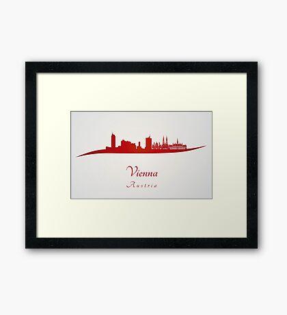 Vienna skyline in red Framed Print