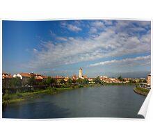 River Adige Panoramic View in Verona Poster