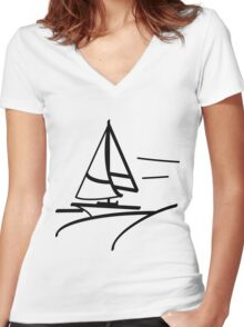 Sailing Ship Women's Fitted V-Neck T-Shirt