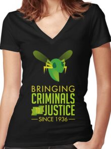 The Green Bee Women's Fitted V-Neck T-Shirt