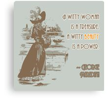 Vintage Fashion Print with Witty Woman Quote Canvas Print