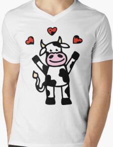 The Cow is in Love Mens V-Neck T-Shirt