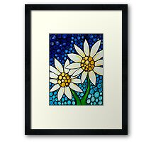 Bathing Beauties Colorful Daisy Art By Sharon Cummings Framed Print
