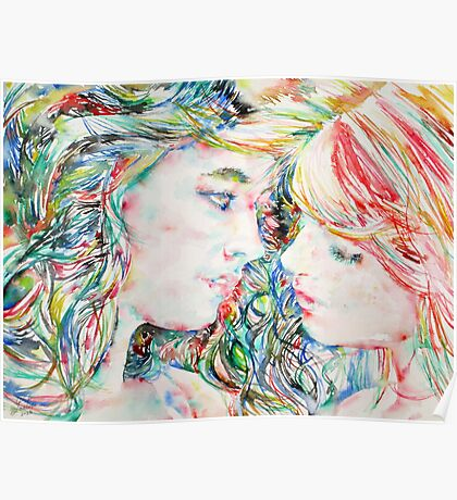 TWO GIRLS / WATERCOLOR PORTRAIT Poster