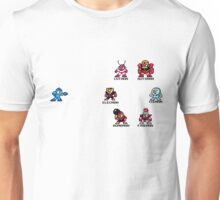 Megaman and Bosses 1 (with black text) Unisex T-Shirt
