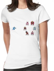 Megaman and Bosses 1 (with black text) Womens Fitted T-Shirt