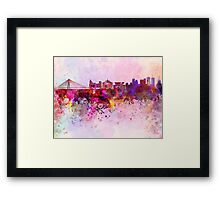 Warsaw skyline in watercolor background Framed Print