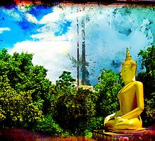 Thai Sitting Buddha  Statue in Jungle by LaCalavera