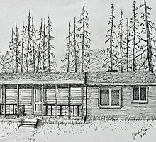 Original Stump Sitter Deer Camp by Jack G Brauer