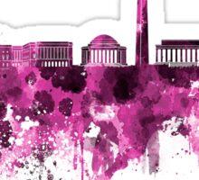 Washington DC skyline in pink watercolor on white background  Sticker