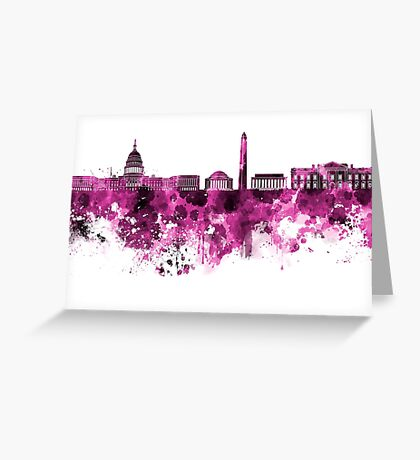 Washington DC skyline in pink watercolor on white background  Greeting Card