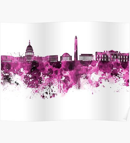 Washington DC skyline in pink watercolor on white background  Poster