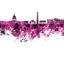 Washington DC skyline in pink watercolor on white background  Photographic Print
