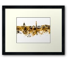 Washington DC skyline in orange watercolor on white background  Framed Print