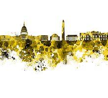 Washington DC skyline in yellowe watercolor on white background  Photographic Print