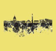 Washington DC skyline in black watercolor on white background  Kids Tee