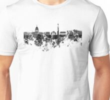 Washington DC skyline in black watercolor on white background  Unisex T-Shirt