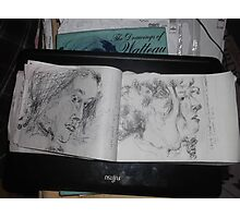 2 x Female heads/(1 of 3) -(030413)- A5 sketchbook/white + black biro pen Photographic Print