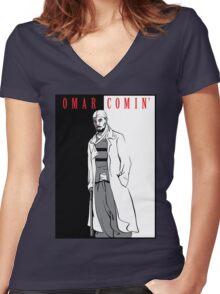 Omar Comin' Women's Fitted V-Neck T-Shirt