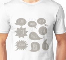 hola! hi! hello! hallo! Unisex T-Shirt