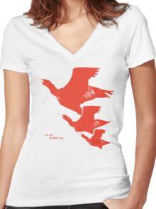 Persona 4 Yosuke Hanamura shirt (red birds) Women's Fitted V-Neck T-Shirt