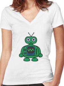 Mini Robot Women's Fitted V-Neck T-Shirt
