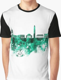 Washington DC skyline in green watercolor on white background  Graphic T-Shirt