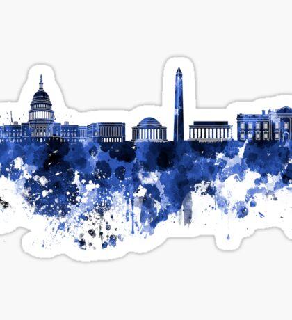 Washington DC skyline in blue watercolor on white background  Sticker