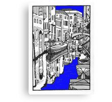 Venice canal in blue Canvas Print