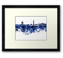 Washington DC skyline in blue watercolor on white background  Framed Print