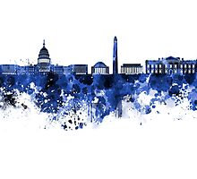 Washington DC skyline in blue watercolor on white background  Photographic Print
