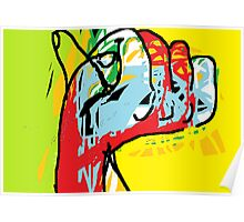 Multi-coloured abstract hand -(040413)- Digital art/mouse drawn/MS Paint Poster