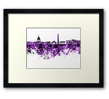 Washington DC skyline in purple watercolor on white background  Framed Print