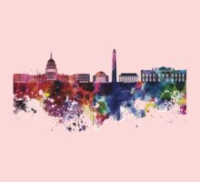 Washington DC skyline in watercolor on white background  Kids Tee