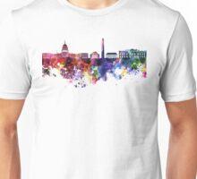 Washington DC skyline in watercolor on white background  Unisex T-Shirt